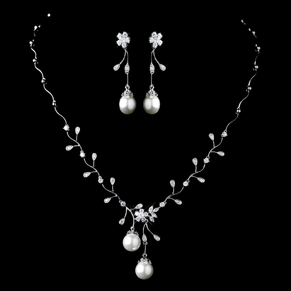 d07d275b18ea9 Diamond White Pearl and CZ Wedding Jewelry Set | Perfect in Pearls ...