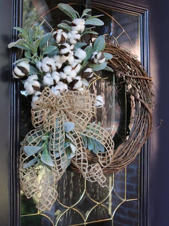 Wreath for Front Door with Cotton, Front Door wreath, Double Door Cotton wreath, Farmhouse Lambs ear wreath, Rustic Country Decor #doubledoorwreaths