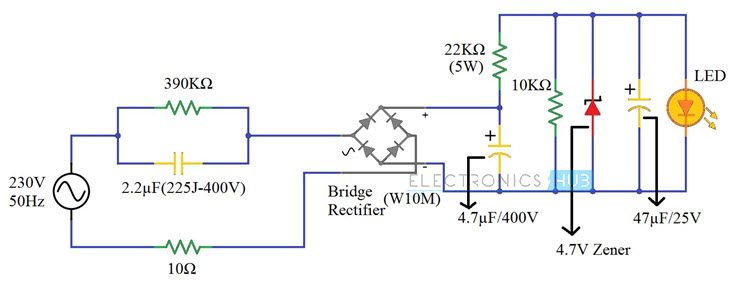 230v Led Driver Circuit Diagram Working And Applications Circuit Diagram Led Drivers Led