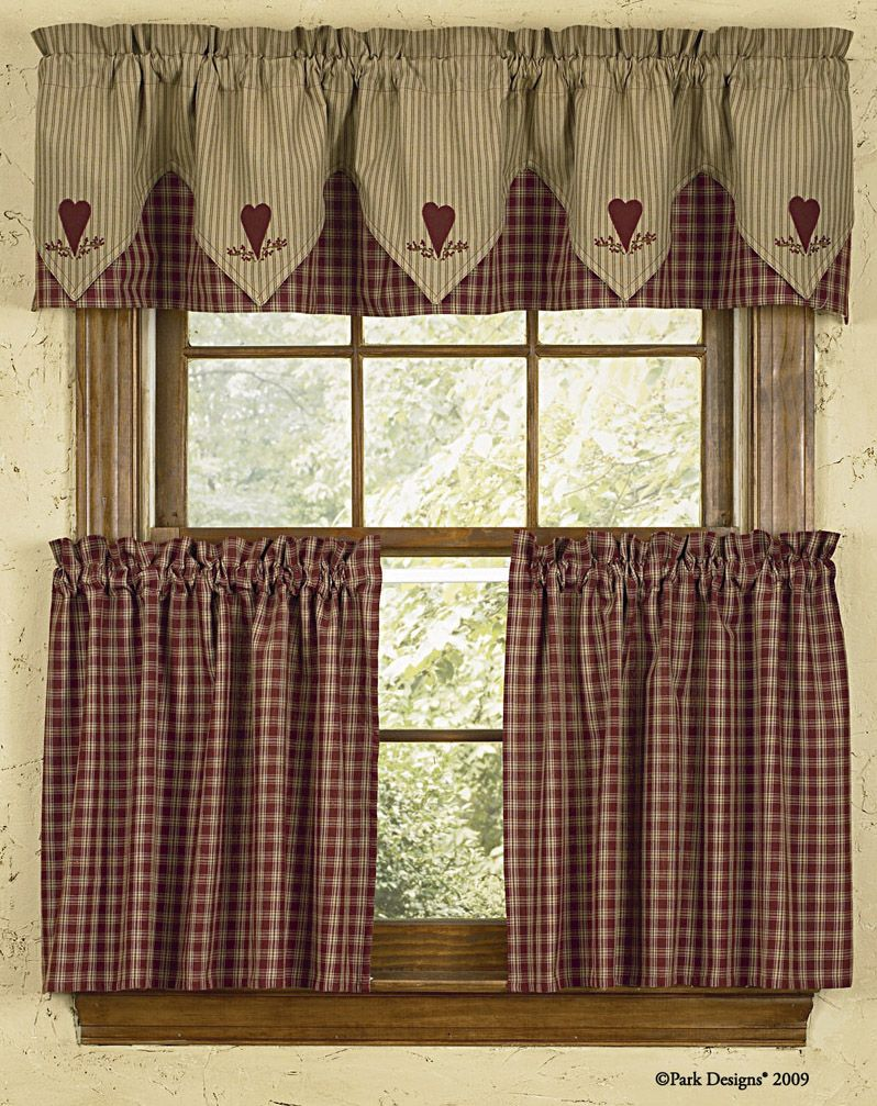 country style curtains park designs sturbridge heart embroidered lined pointed valance. Black Bedroom Furniture Sets. Home Design Ideas