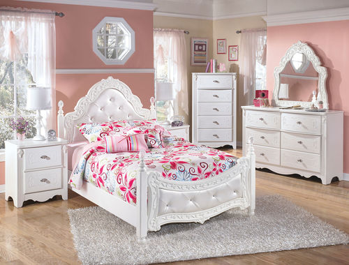 Exquisite White 4 Pc Dresser French Style Mirror Full Padded