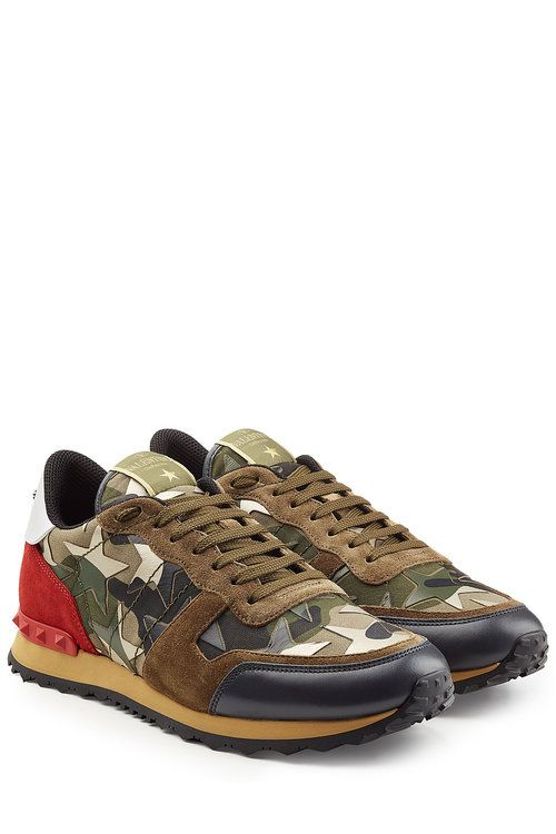 Valentino Rockstud Suede And Leather Sneakers Valentino Shoes
