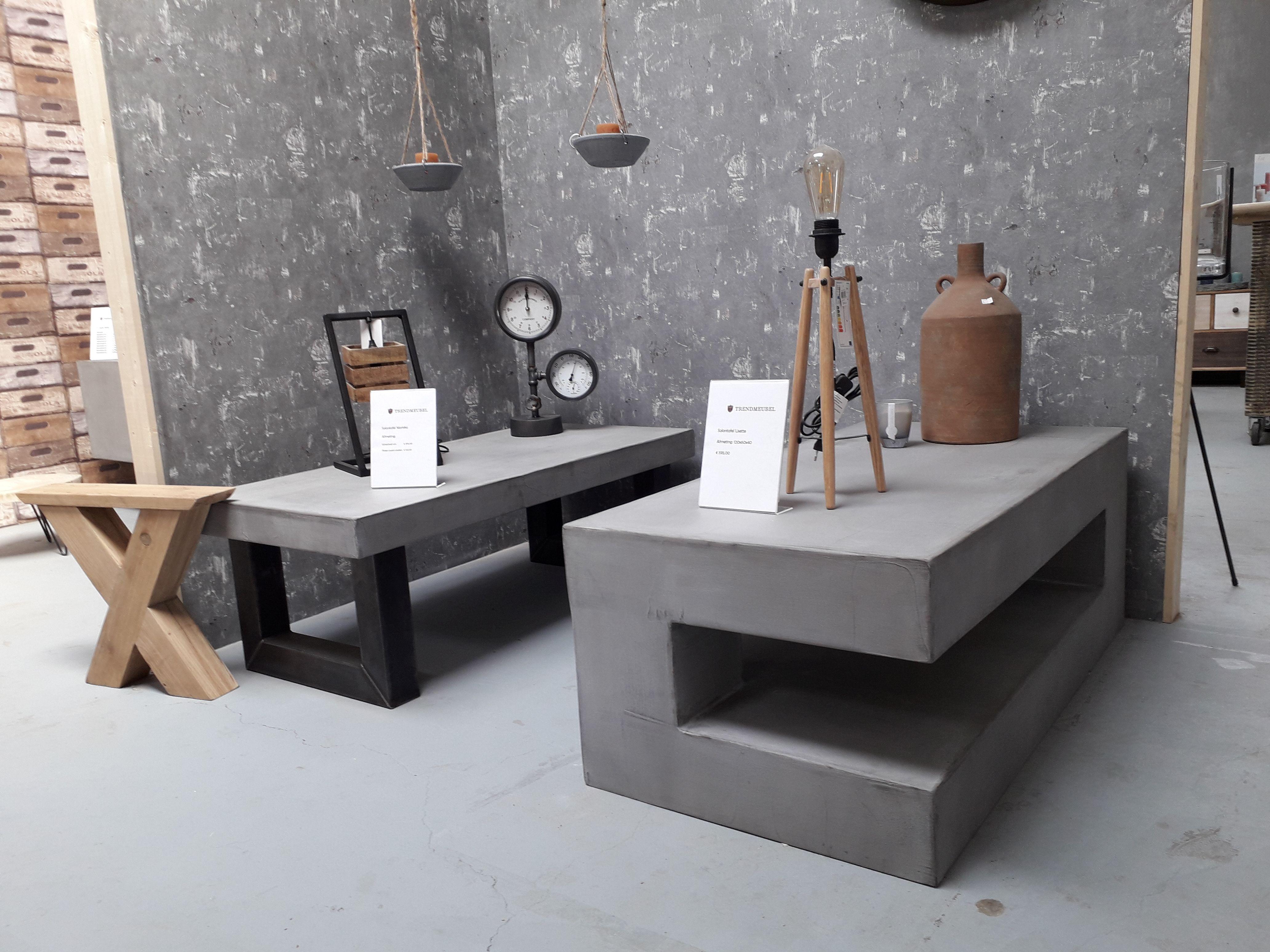 Salontafel Van Beton : Salontafel beton great trendhopper salontafel met zwarten metalen