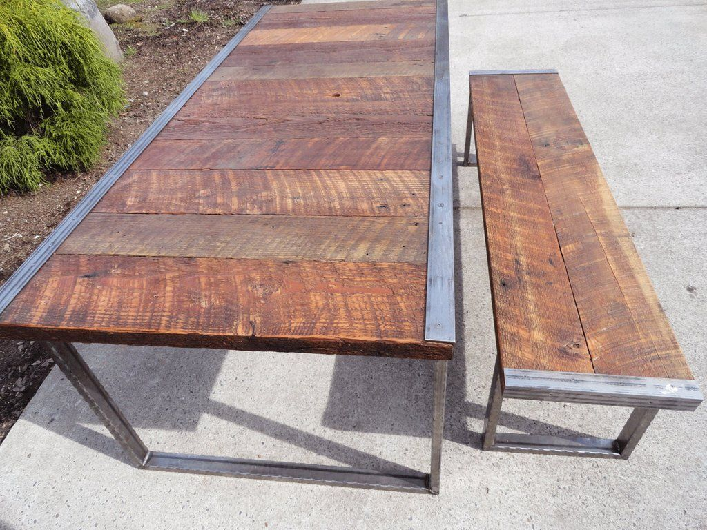 Industrial Dining Tables 8 Ft Bench With Rectangular Steel Legs And Raw Trim