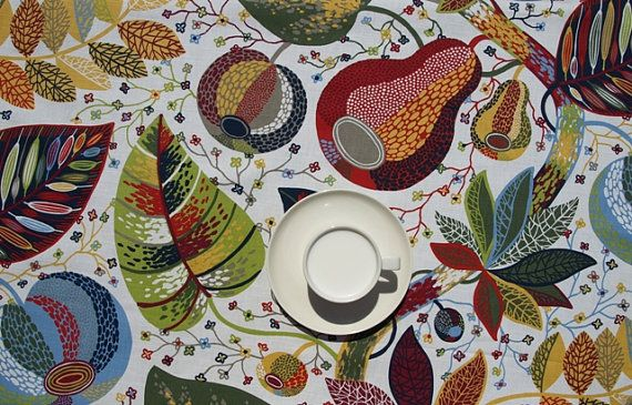 Tablecloth white bright sky blue moss olive green grey red yellow leaves , table runner , napkins , curtains , pillows available, great GIFT...