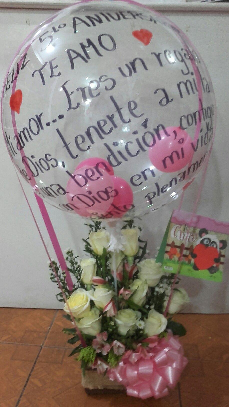 Arreglo Floral Con Globo Burbuja Decoraciones Amore