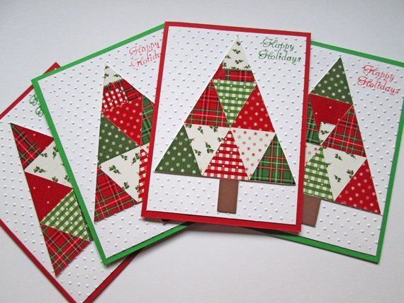 Quilted Christmas Cards - Tree Christmas Card Set - Holiday Cards