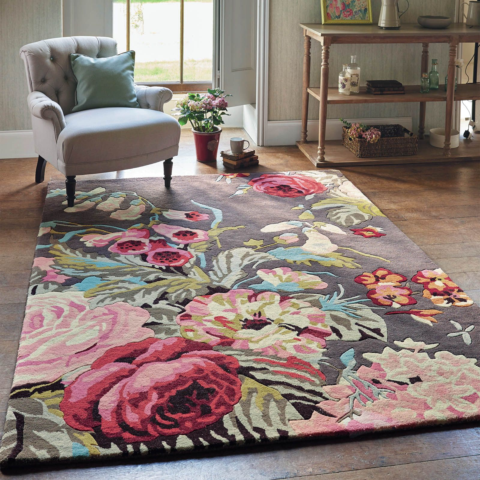 floral rug wool jardiniere embroidered colored rugs bookmark modern htm chic