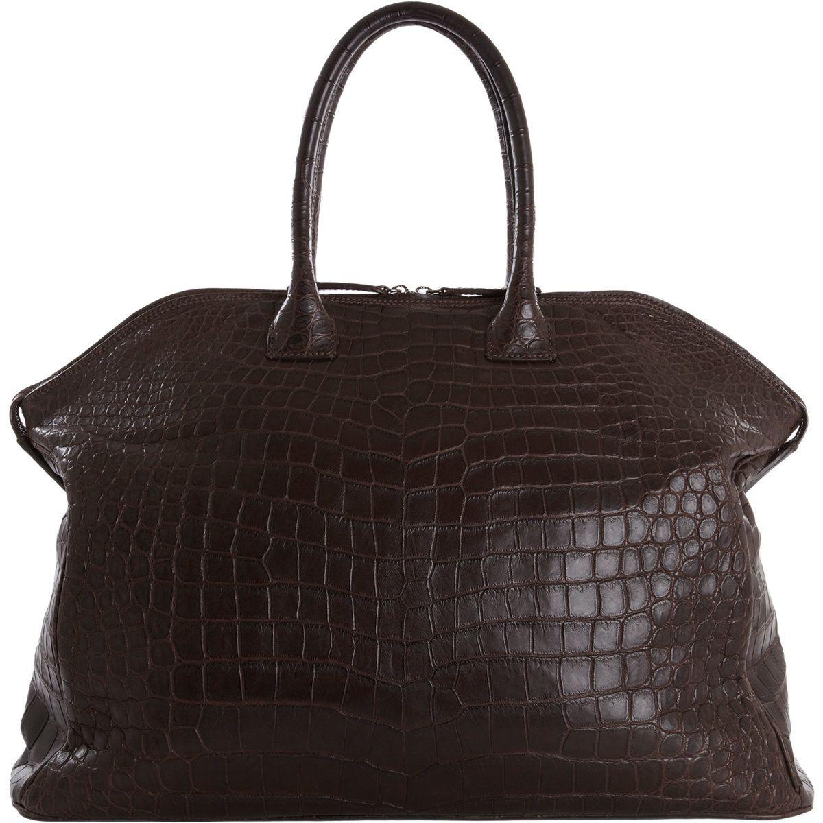 Zagliani Crocodile Large Tomodachi Bowling Bag at