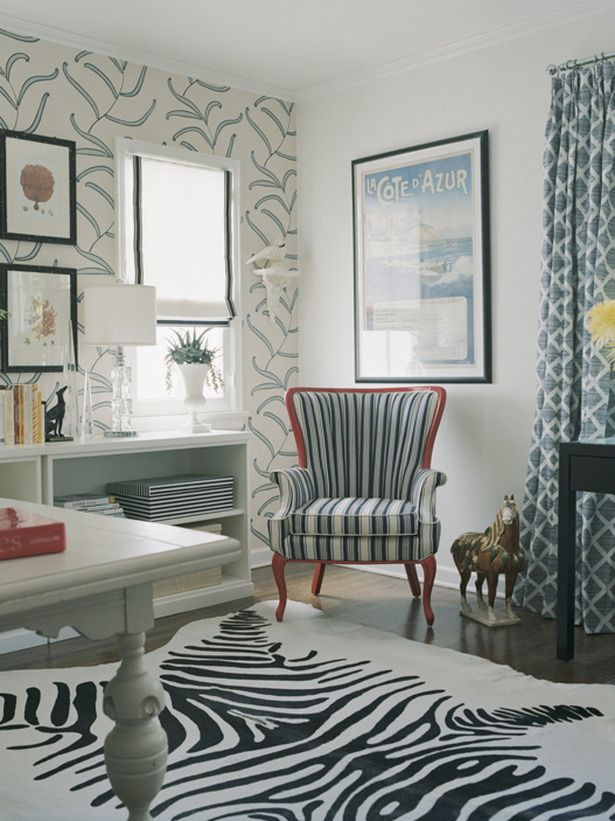 Simply White Designer Erinn Valencich Coordinates A Funky Wallpaper Design  And A Zebra Print Area Rug With A Simple White Roman Shade For An  Understated ...