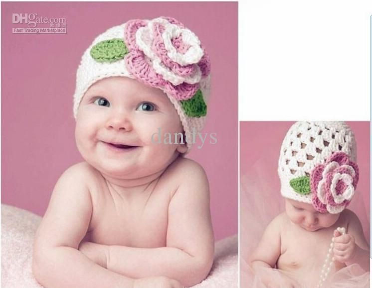 b9df3cb26 2019 Children Knitted Hats, Baby Flower Princess Knit Hat, Kids ...