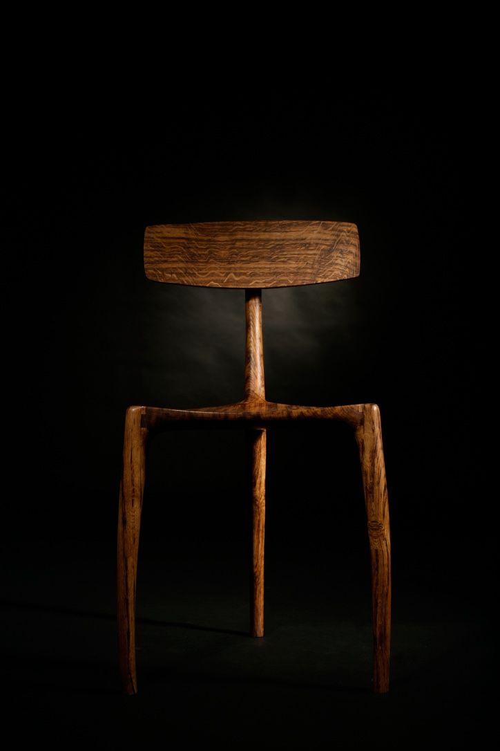 3 Legs chair in English Brown Oak, oil finished hand made by furniture maker Jack Draper