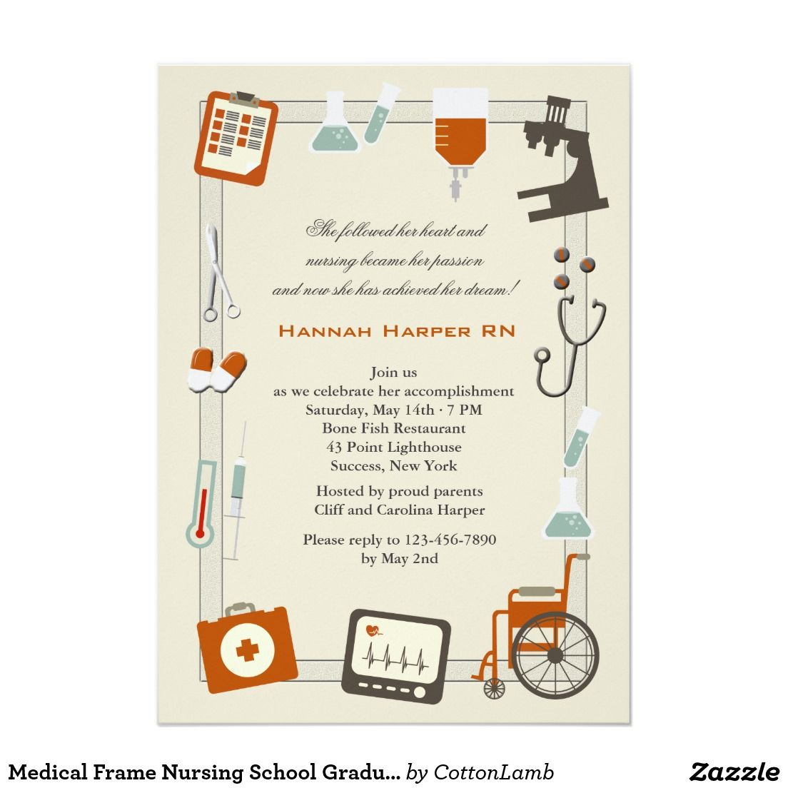Medical Frame Nursing School Graduation Invitation