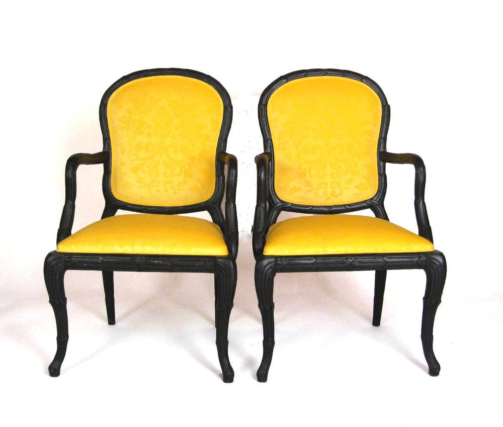 Yellow Upholstered Dining Chair - Details about serge roche hollywood regency draper yellow dining chairs set