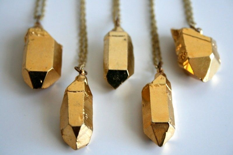 gold dipped crystal necklaces by Pigeon Toe gold necklace