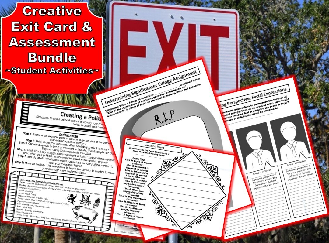 Creative Exit Card Assessment Worksheets Amp Activities