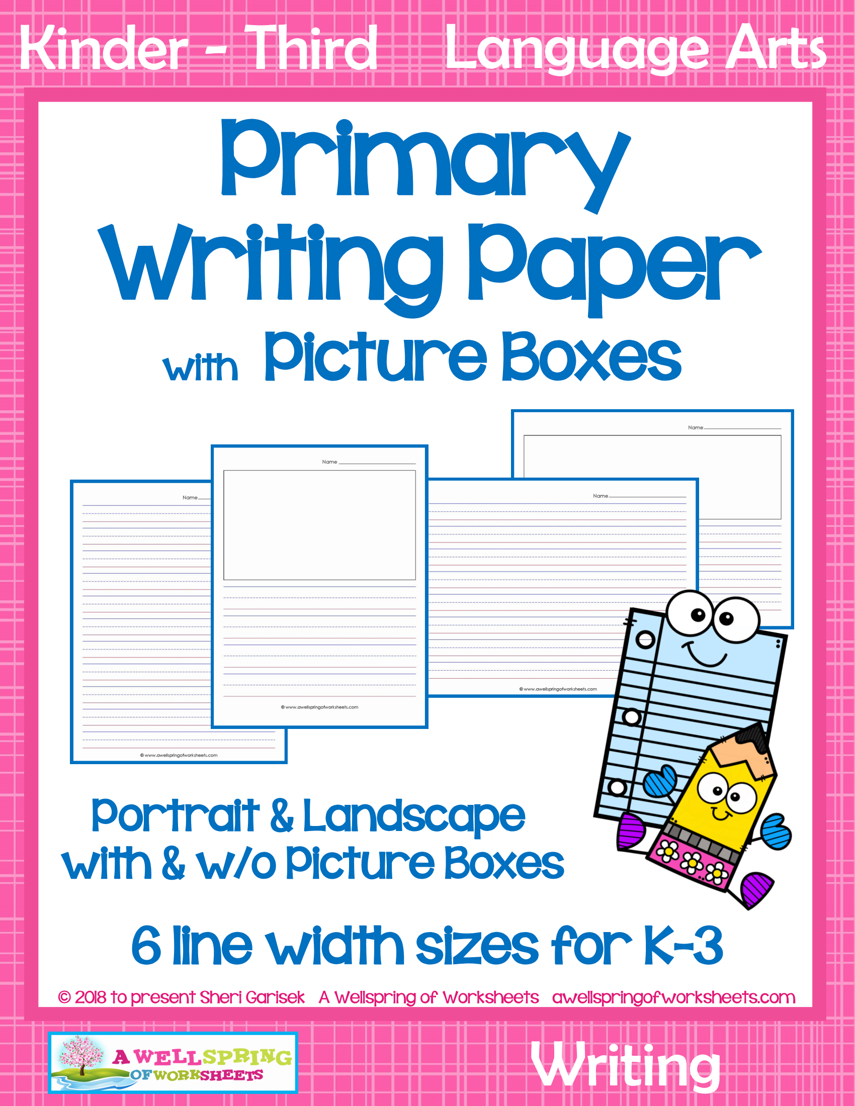 This Primary Writing Paper With Picture Boxes Comes In 6 Different Line Height Sizes That Are Perfect For Kind Primary Writing Lined Writing Paper Cute Writing [ 2200 x 1700 Pixel ]