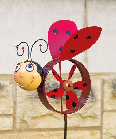 Windmill Ladybug Garden Stake