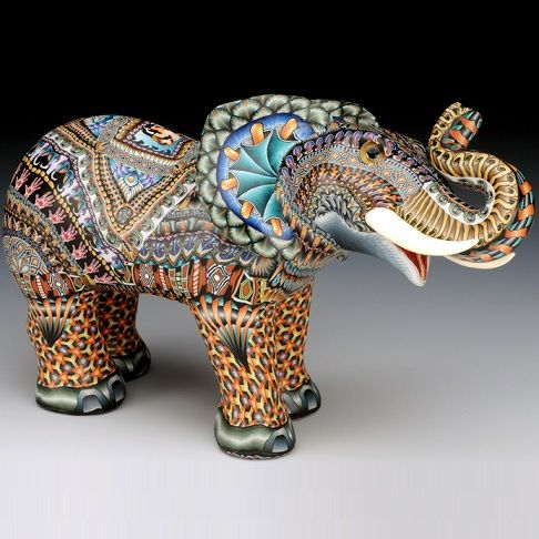 Jon Anderson's FimoCreations polymer clay Mama #Elephant Sculpture represents the height of originality in wildlife art.