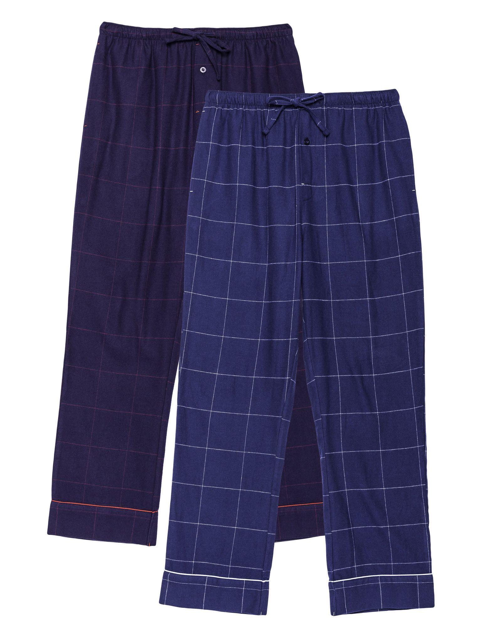 Men's 100% Cotton Flannel Lounge Pants - 2 Pack