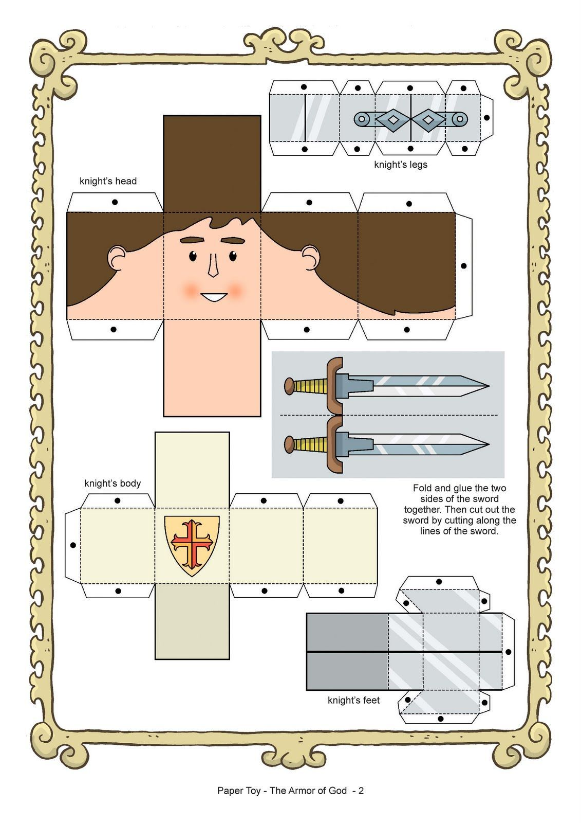 armor of god coloring pages My Little House Paper Toy