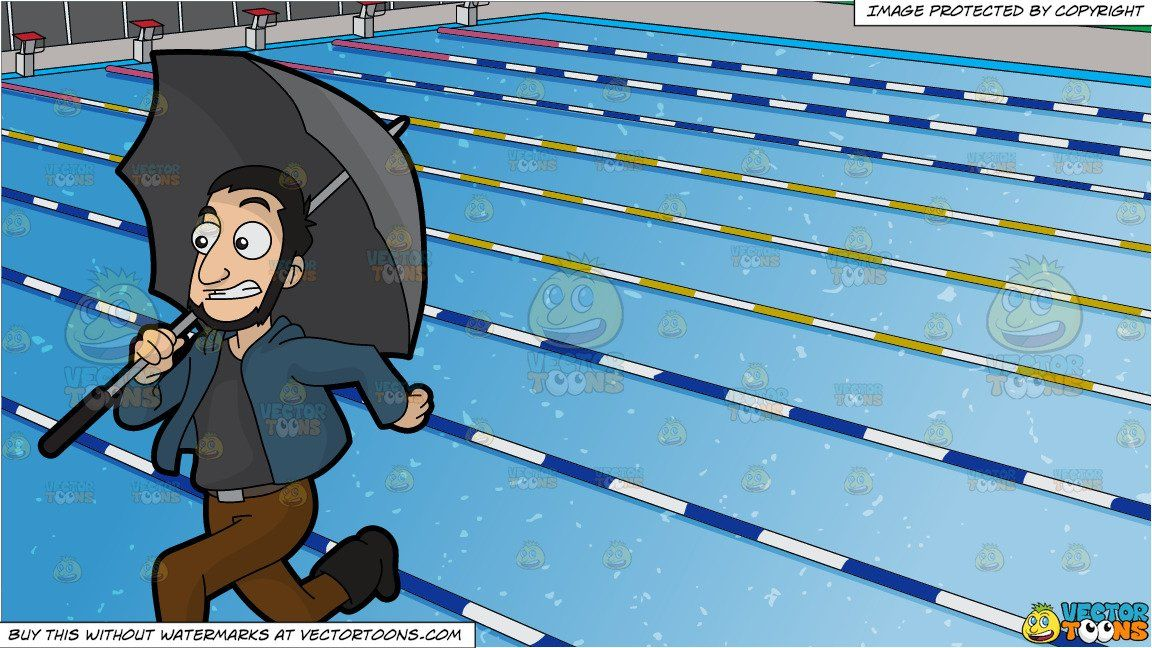 Clipart Cartoon A Guy Running Away From The Rain And Outdoor Competition Swimming Pool