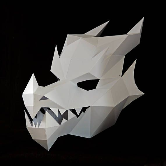Paper Pattern Instant Download Halloween Mask Paper Mask Printable Mask Dragon Mask Dungeons and Dragons Game of Thrones
