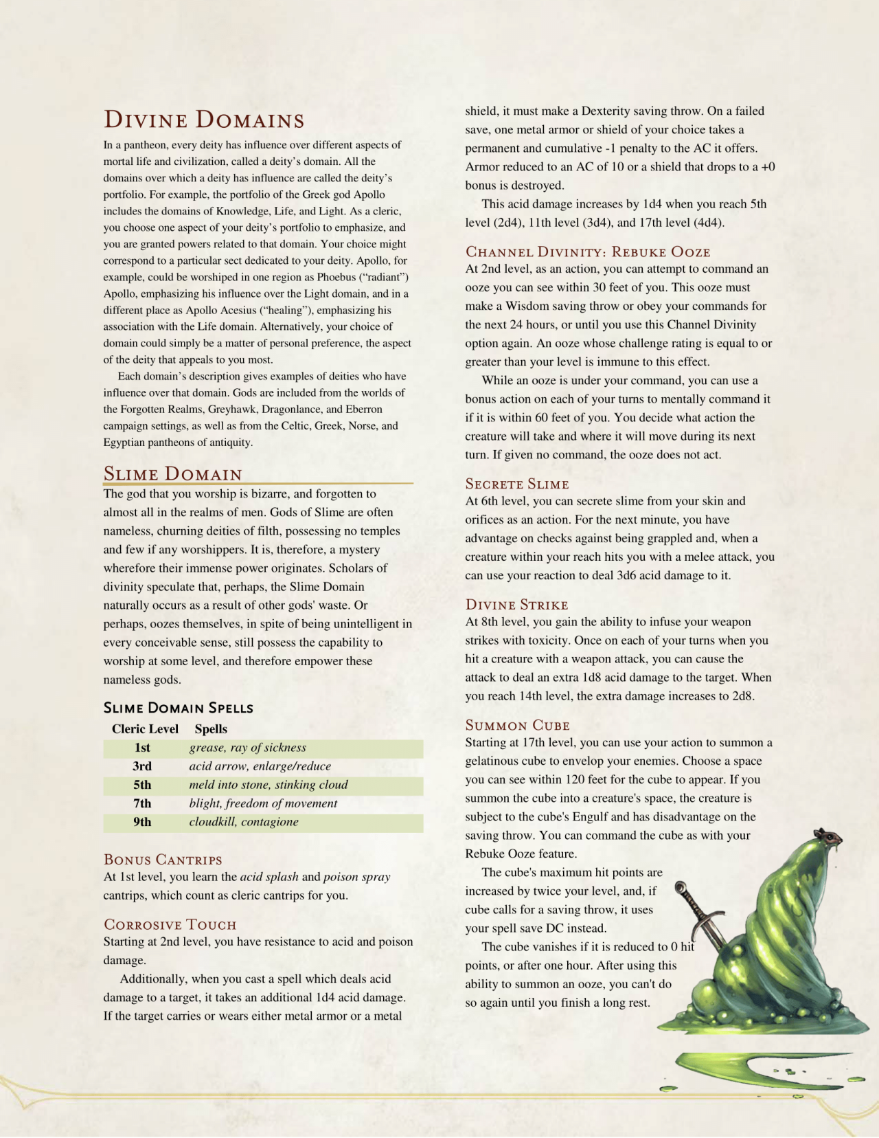 Slime Domain Cleric By The Middlefinger Of Vecna Dnd Classes Dungeons And Dragons Game Dungeons And Dragons Classes