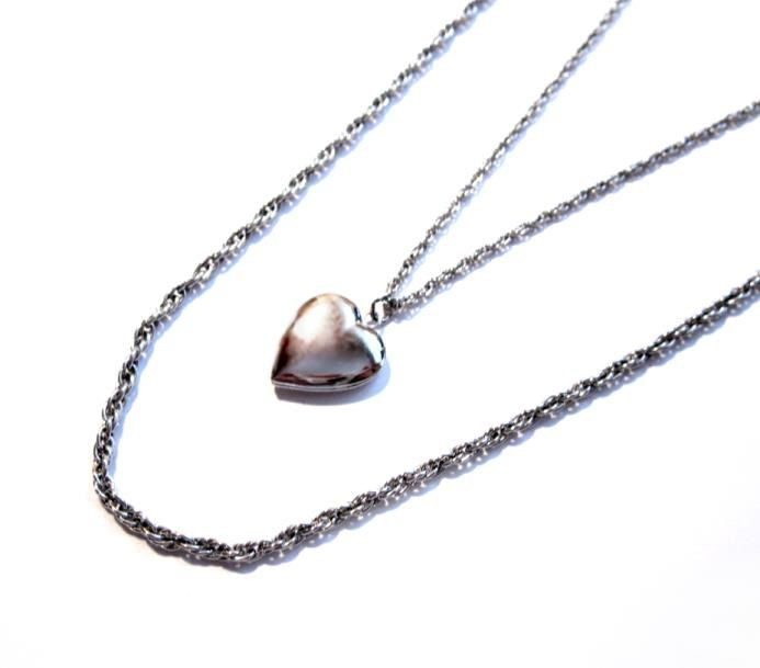 Vintage Locket Necklace, Signed Silver Chain, Heart Pendant