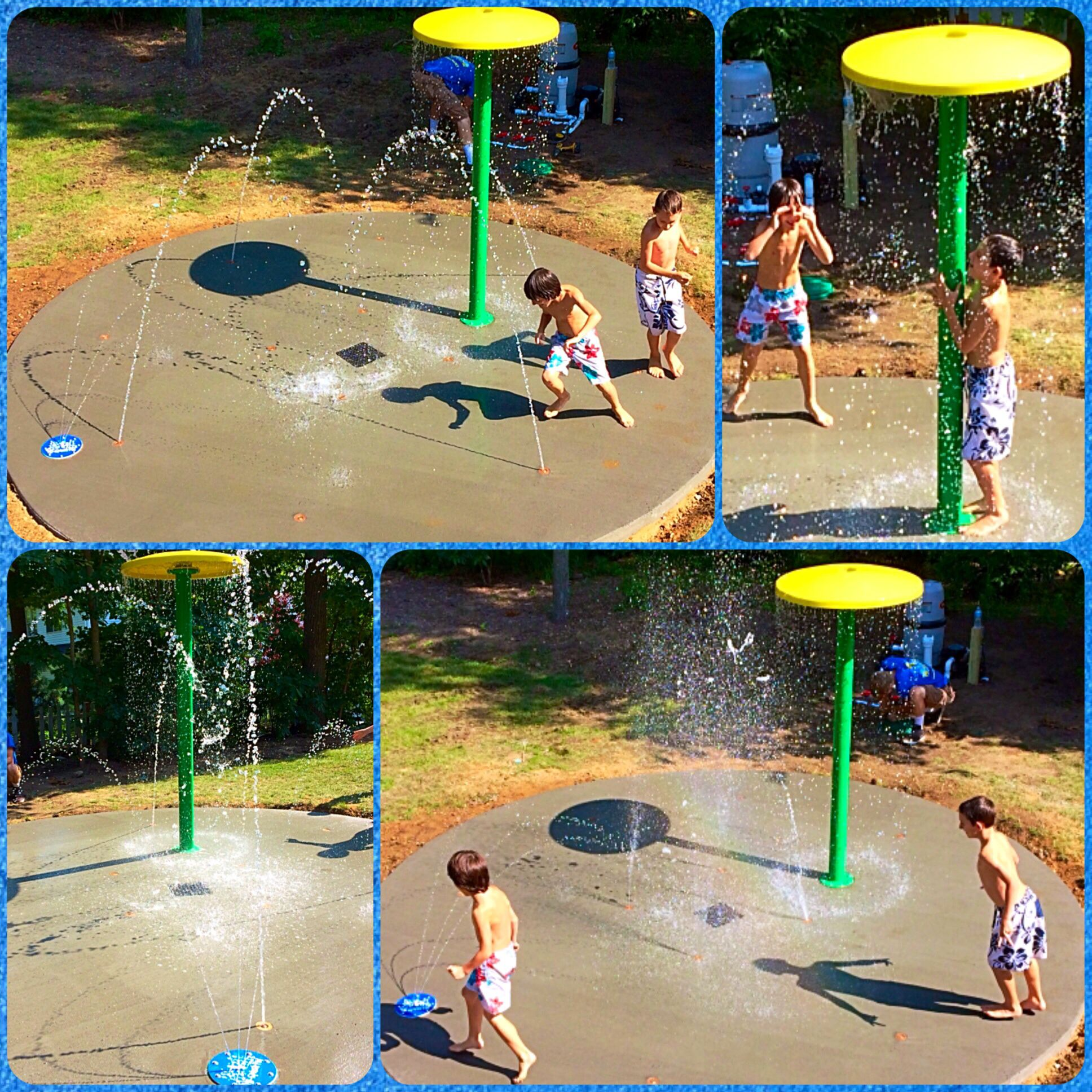 long island water play fun this home splash pad is a hit with all