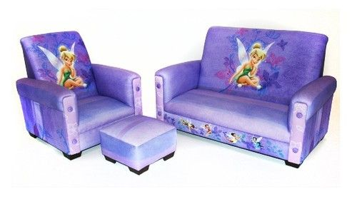 Girls Purple Tinkerbell Disney Fairies Sofa Set Couch Kids Chair Ottoman US  Made | EBay