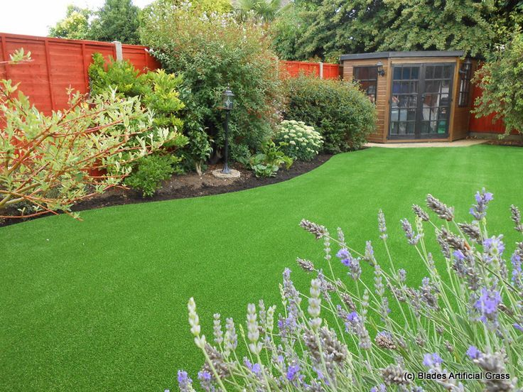 landscaping with artificial grass and live plants