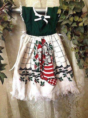 Christmas Stocking Kitchen Towel Dress Hunter Green | E Soy Candles    Seasonal On