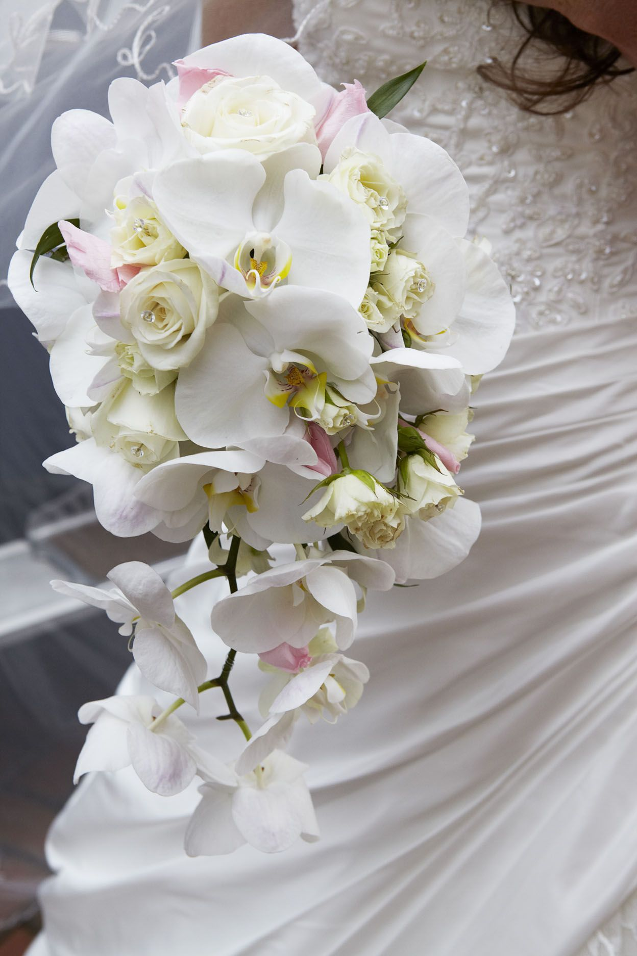 Trailing Orchid And Spray Rose Bridal Bouquet