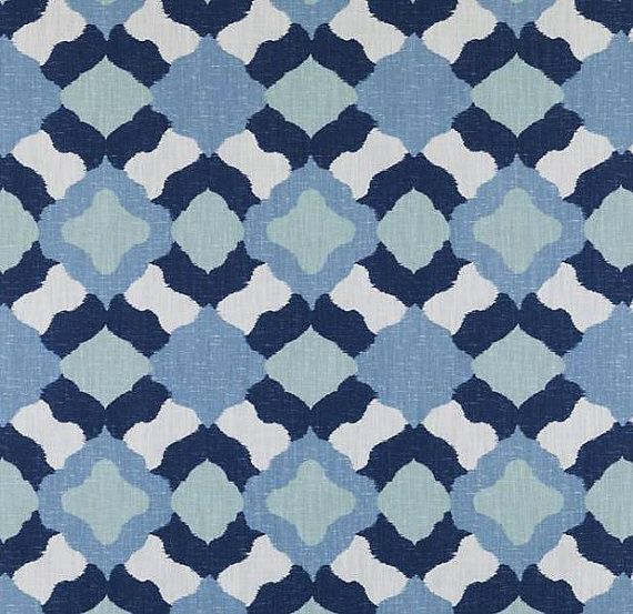 Navy Blue and White Geometric Upholstery Fabric - Large Scale ...