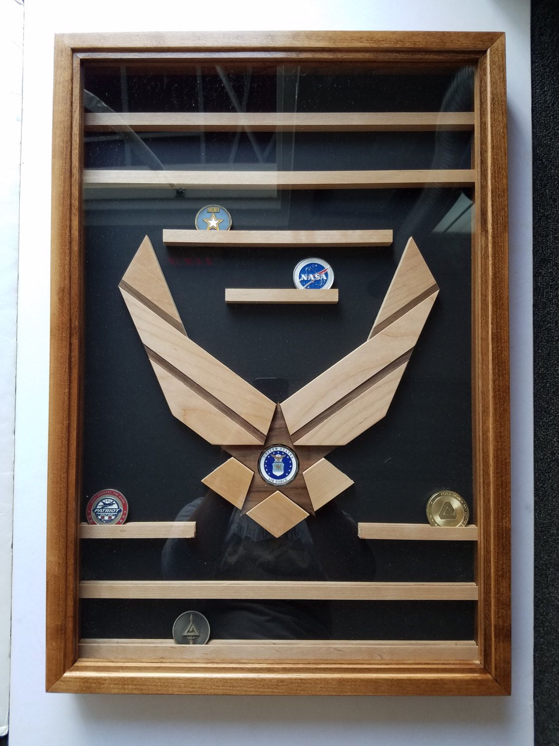 Air Force Challenge Coin Display Case, Military Retirement