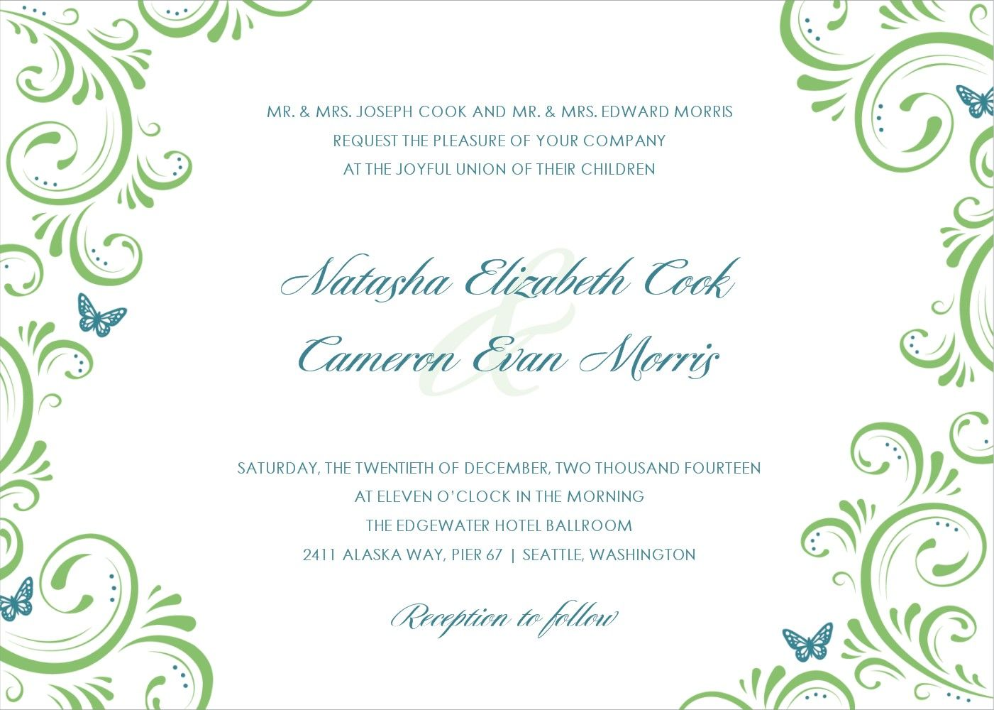 FREE TEMPLATE-LOOK AT WORDING Wedding Invitation Template Best ...