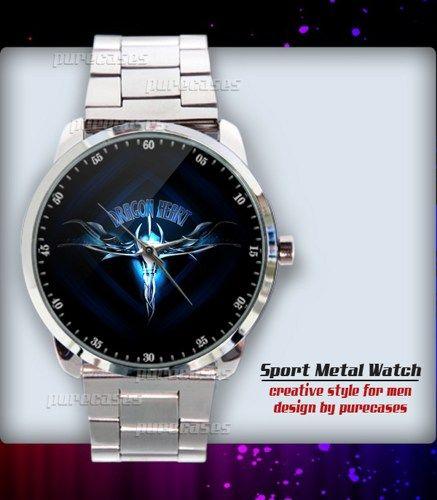 New Rare Dragon Heart Blue Design Symbol Logo Sport Metal Watch