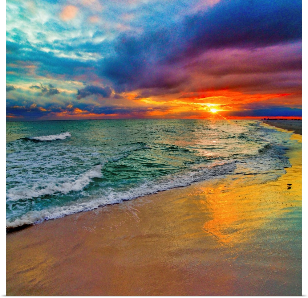 Colorful Seascape Swirling Multi Color Sunset In 2021 Sunset Wall Art Sunset Painting Seascape