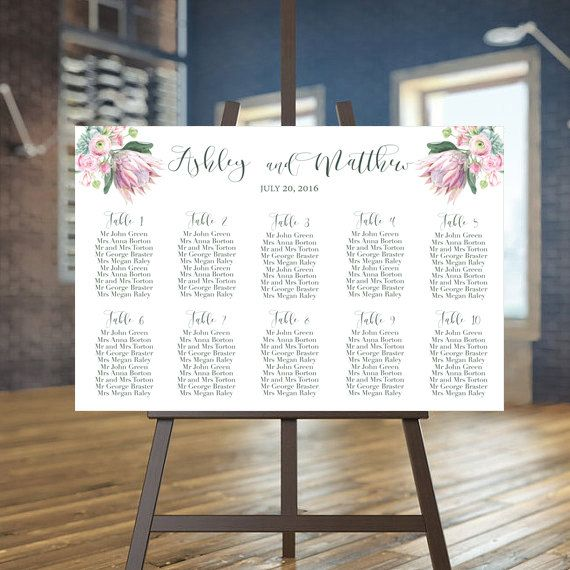 Printable seating chart Succulent guests list by instanttrends - printable seating charts