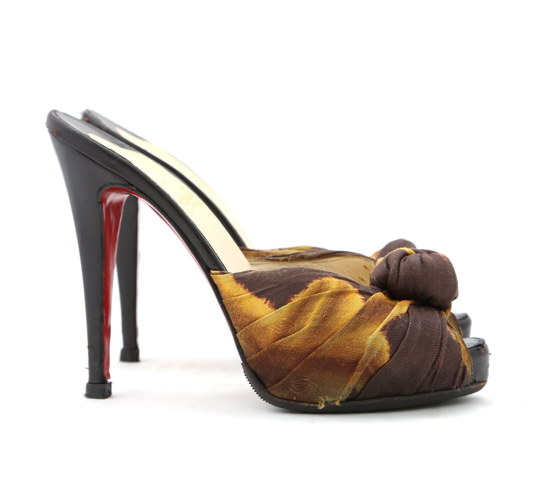 Christian Louboutin Copper And Brown Fabric Sandal