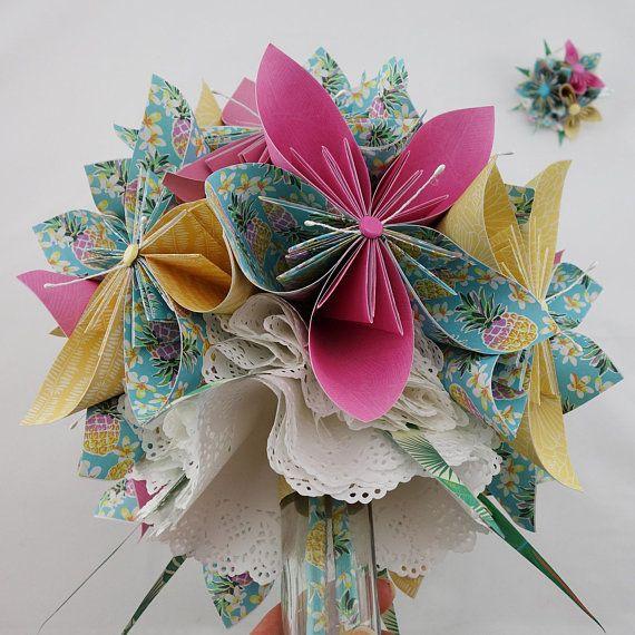 bouquet de mari e exotique en papier origami mariage tropical exotique pinterest origami. Black Bedroom Furniture Sets. Home Design Ideas
