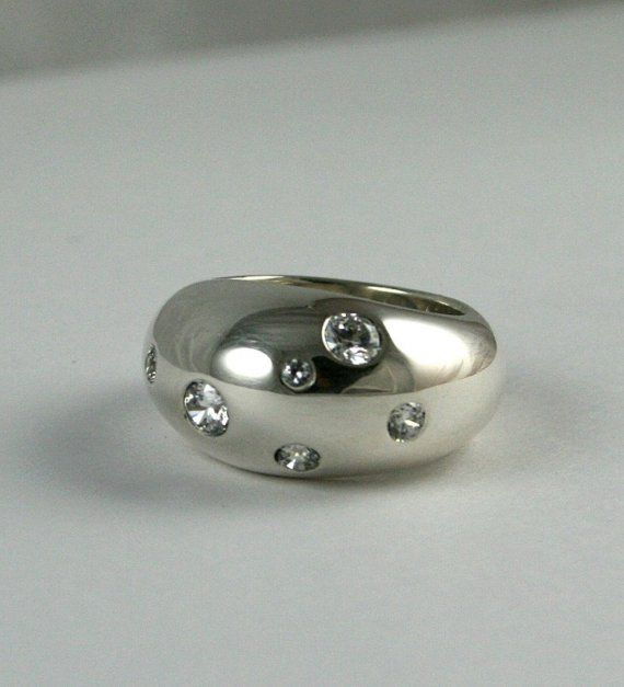 Handmade High Dome Silver Ring With Flush Set Cubic by SaedisBauer, $198.00