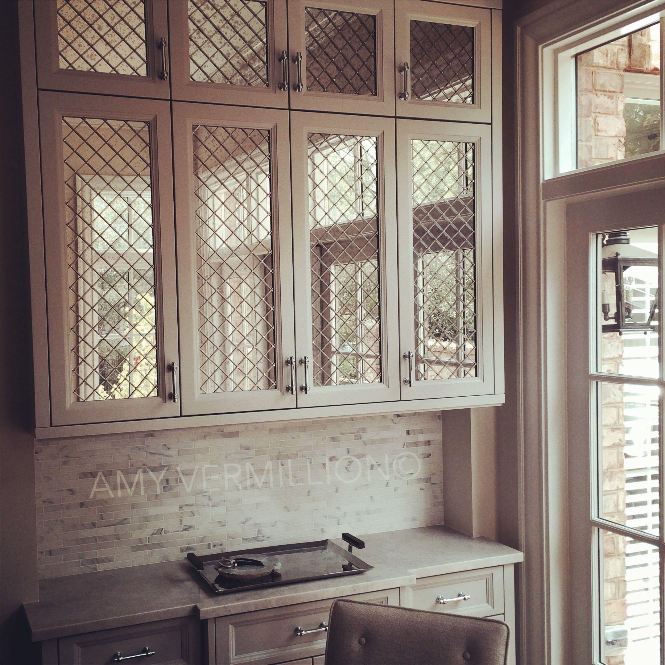 Amy Vermillion Interiors - Antique Mirror behind nickel wire   Amy ...