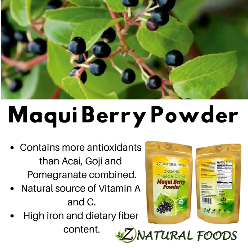 Maqui Berry Powder Organic Freeze Dried From Fresh Wild Maqui