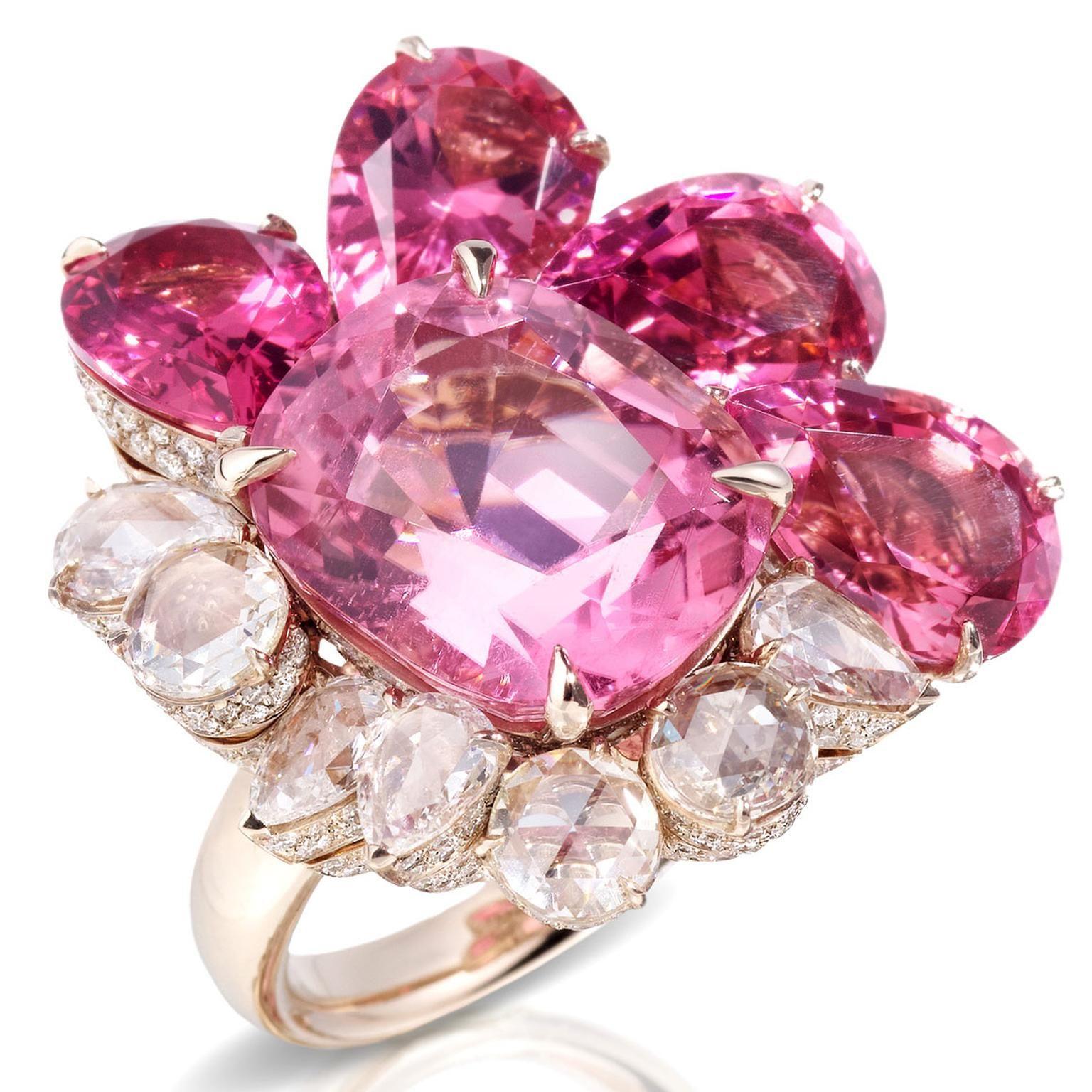 Pomellato anillo de Pom Pom Londres en oro blanco con turmalina rosa