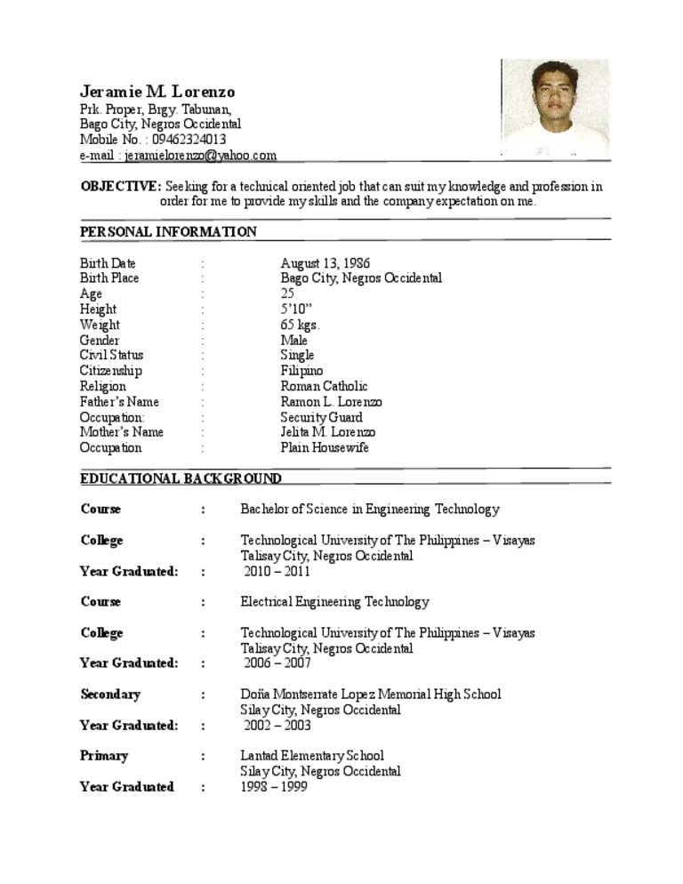 engineering student sample resumes