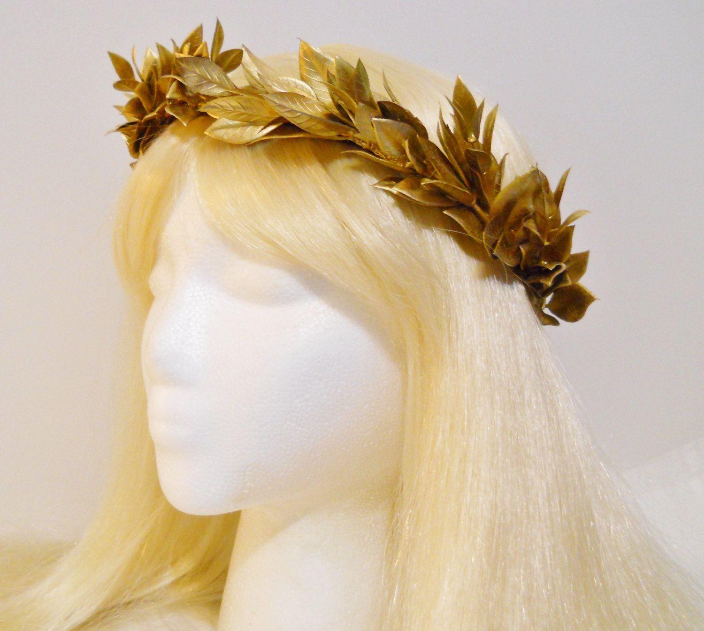 Womens Roman Golden Laurel Leaf Hair Headband Costume Accessory