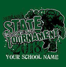 High School Wrestling State Tournament T-Shirt Design: Ships same