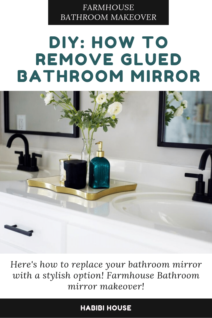 Diy Removal Of Glued Bathroom Mirror In 2020 Bathroom Mirror Makeover Mirror Makeover Large Bathroom Mirrors